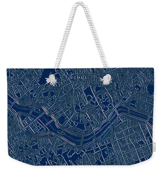 Seoul Blueprint City Map Weekender Tote Bag