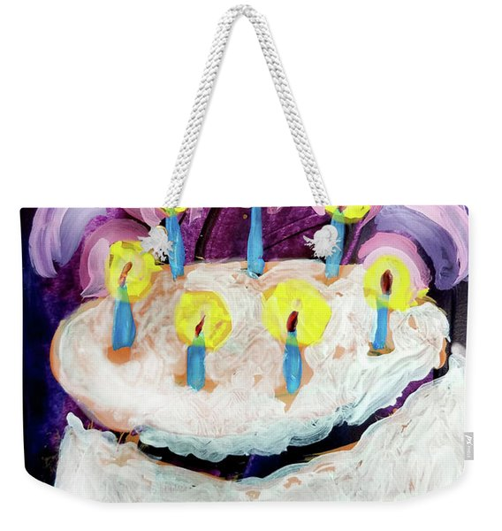 Seven Candle Birthday Cake Weekender Tote Bag