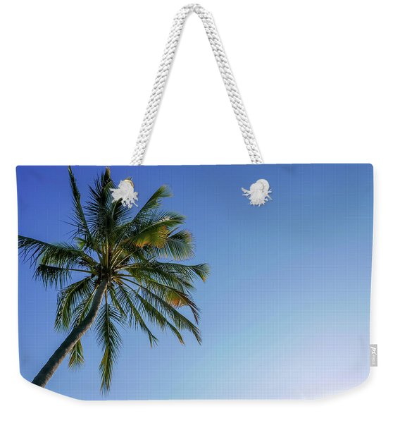 Shades Of Blue And A Palm Tree Weekender Tote Bag