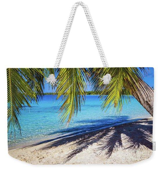 Shadows On The Beach, Takapoto, Tuamotu, French Polynesia Weekender Tote Bag