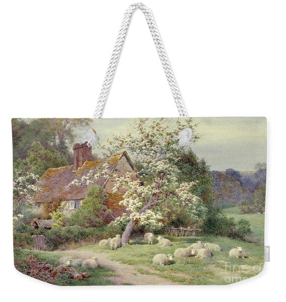 Sheep Outside A Cottage In Springtime Weekender Tote Bag