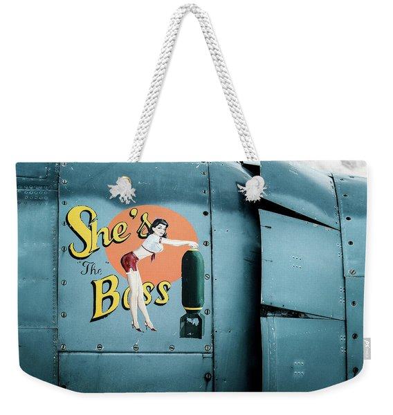 She's The Boss, World War 2 Navy Avenger Torpedo Bomber Weekender Tote Bag