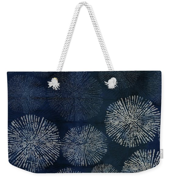 Shibori Sea Urchin Burst Pattern Dark Denim Weekender Tote Bag