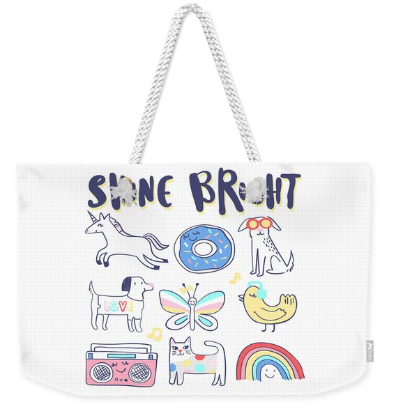Shine Bright - Baby Room Nursery Art Poster Print Weekender Tote Bag