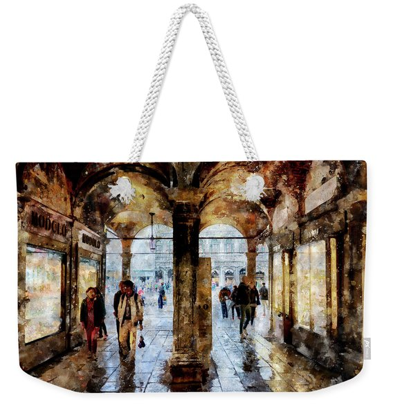 Shopping Area Of Saint Mark Square In Venice, Italy - Watercolor Effect Weekender Tote Bag