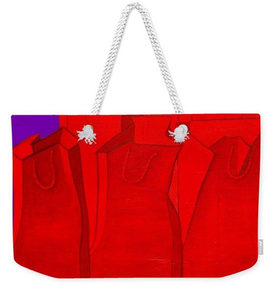 Shopping In Red Weekender Tote Bag