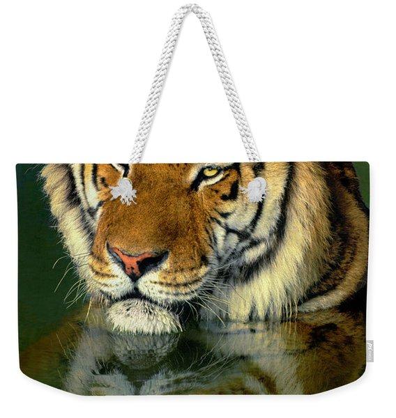 Siberian Tiger Reflection Wildlife Rescue Weekender Tote Bag