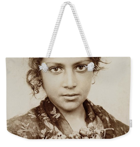 Sicilian Girl With A Bunch Of Grapes Weekender Tote Bag