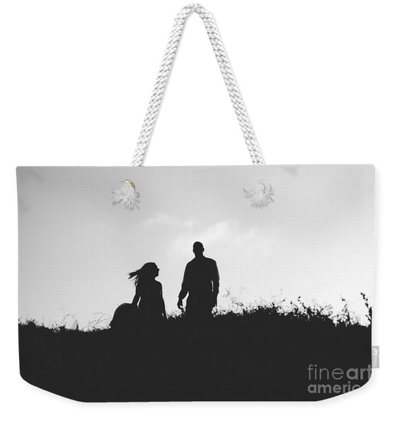 Silhouette Of Couple In Love With Wedding Couple On Top Of A Hil Weekender Tote Bag