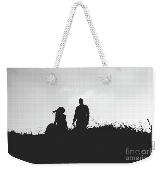 Silhouette Of Couple In Love With Wedding Couple On Top Of A Hill Weekender Tote Bag