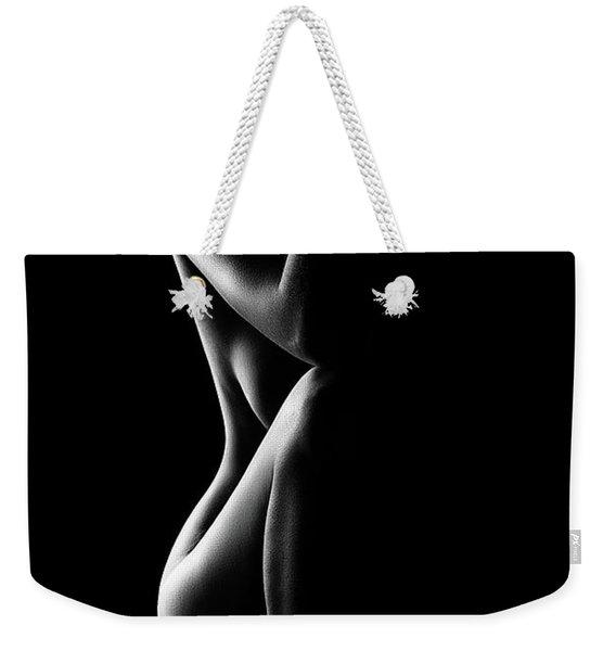 Silhouette Of Nude Woman In Bw Weekender Tote Bag