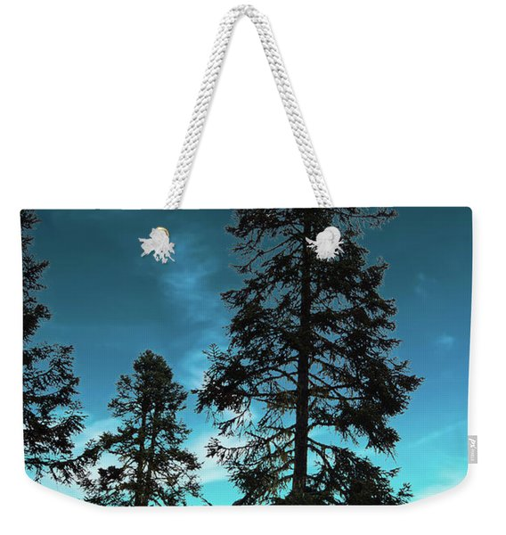 Silhouette Of Tall Conifers In Autumn Weekender Tote Bag