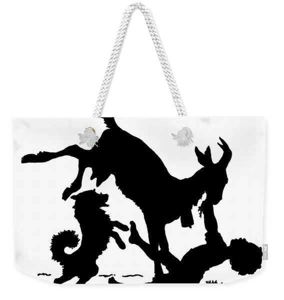 Silhouette With A Boy, Goat And A Dog By Paul Konewka Weekender Tote Bag