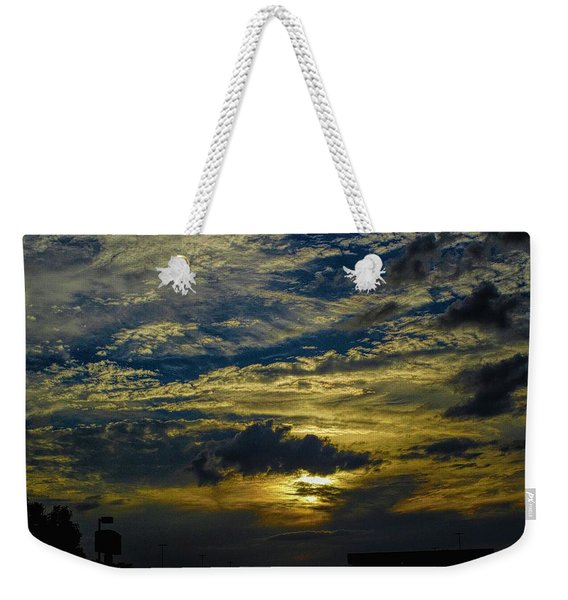 Silver, Blue And Gold Weekender Tote Bag