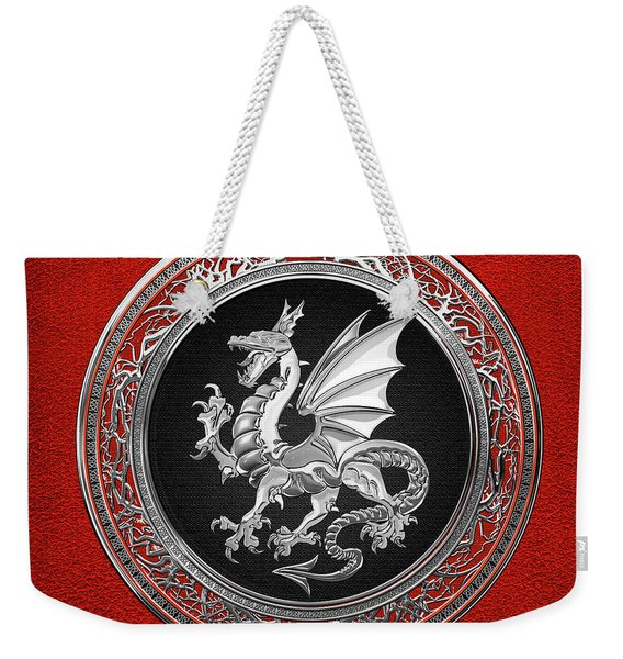 Silver Winged Norse Dragon - Icelandic Viking Landvaettir On Black And Silver Medallion Over Red  Weekender Tote Bag