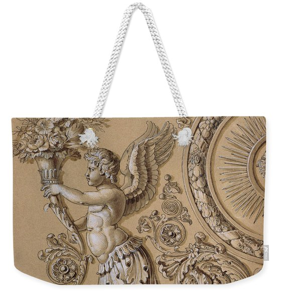 Silverwork Design Depicting A Cherub With Acanthus Leaves Circa 1800 Weekender Tote Bag