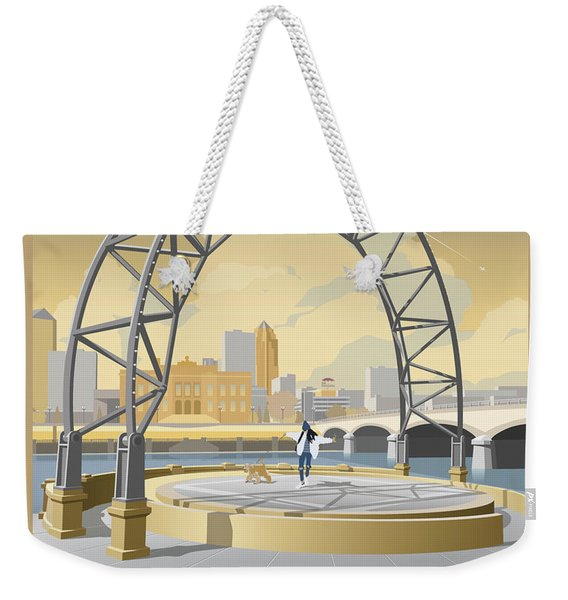 Weekender Tote Bag featuring the drawing Simon Estes Amphitheater by Clint Hansen