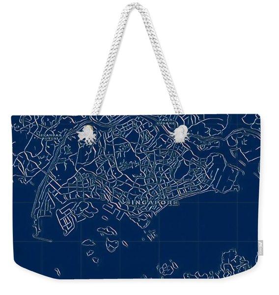 Singapore Blueprint City Map Weekender Tote Bag