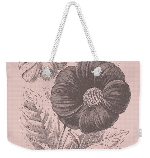Single Dahlias Blush Pink Flower Weekender Tote Bag