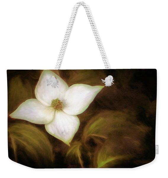 Single Dogwood Flower Sepia Weekender Tote Bag