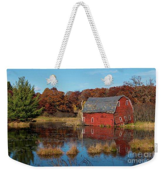 Sinking Red Barn In Fall Weekender Tote Bag