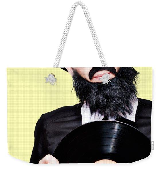 Sixties Retro Rock Man Holding Music Record Vinyl Weekender Tote Bag
