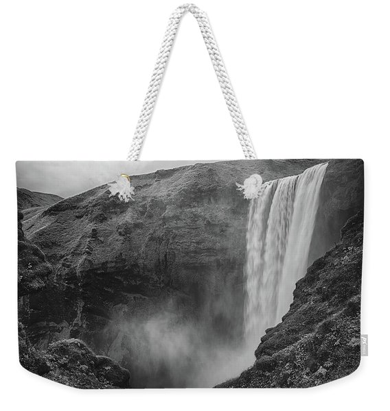 Skogafoss Iceland Black And White Weekender Tote Bag