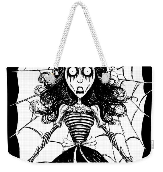 Skull Girl Stuck On Spider Web Weekender Tote Bag