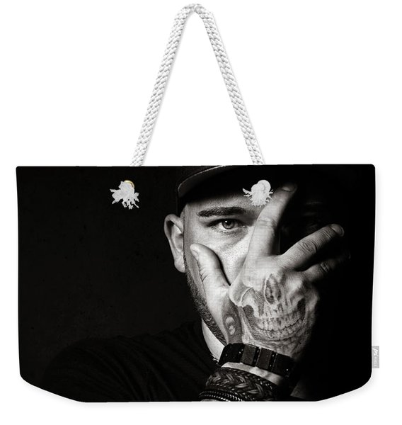 Skull Tattoo On Hand Covering Face Weekender Tote Bag