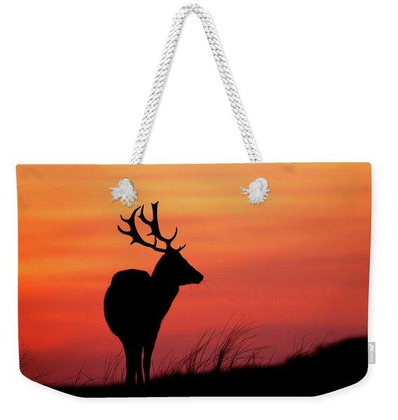 Sky On Fire - Fallow Deer Silhouette Weekender Tote Bag