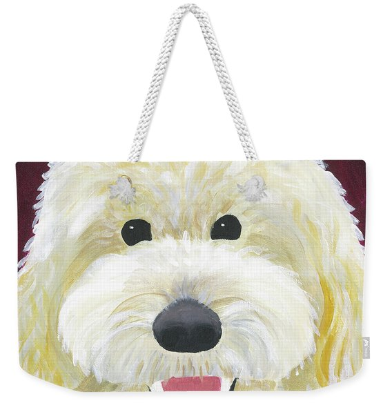 Weekender Tote Bag featuring the painting Skyler by Suzy Mandel-Canter