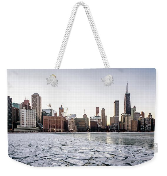 Skyline And Cracks In The Water Weekender Tote Bag