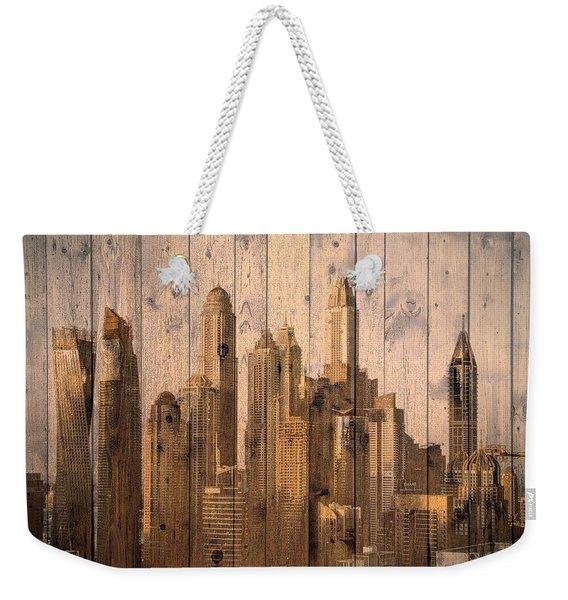 Skyline Of Dubai, Uae On Wood Weekender Tote Bag