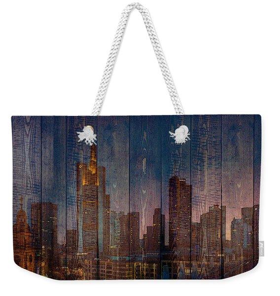 Skyline Of Frankfurt, Germany On Wood Weekender Tote Bag