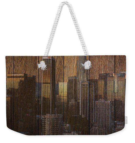Skyline Of Los Angeles, Usa On Wood Weekender Tote Bag