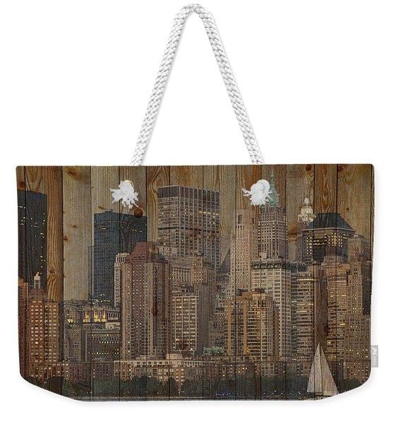 Skyline Of New York, Usa On Wood Weekender Tote Bag