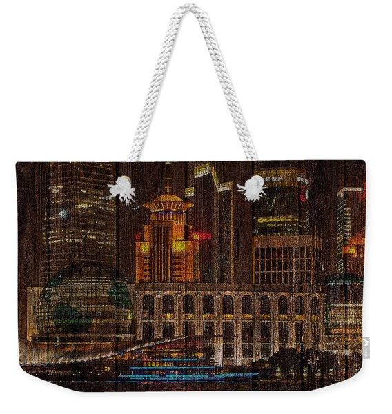 Skyline Of Shanghai, China On Wood Weekender Tote Bag