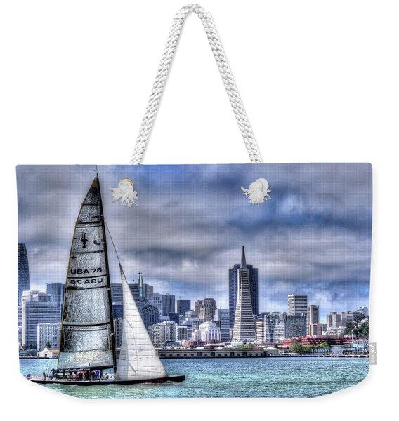 Weekender Tote Bag featuring the photograph Skyline Sail  San Francisco Ca by Wayne King