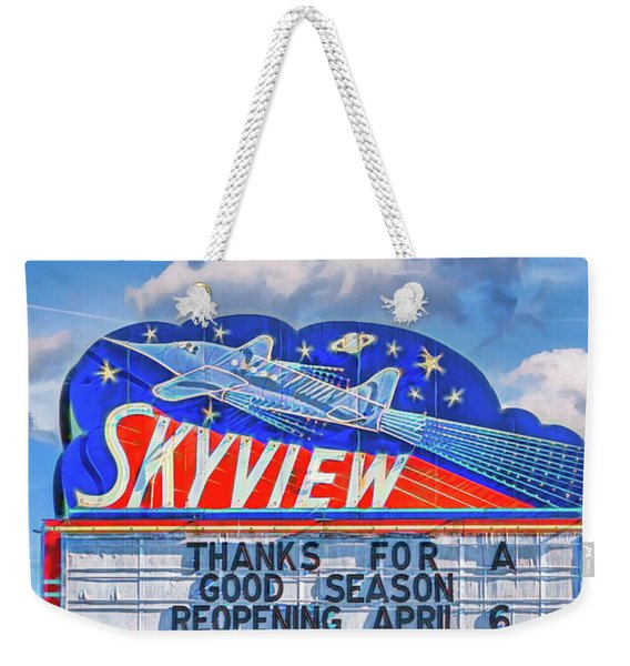 Skyview Drive-in Theater Neon Sign Weekender Tote Bag