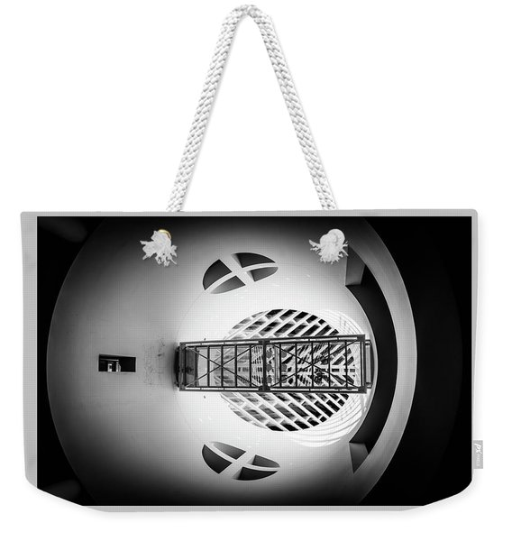 Weekender Tote Bag featuring the photograph Skywalk Moma by Michael Hope