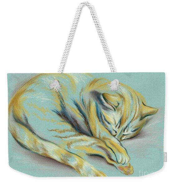 Sleeping Tabby Kitten Weekender Tote Bag