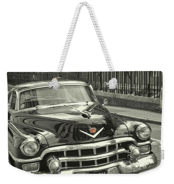 Weekender Tote Bag featuring the photograph Slick Black Cadillac by JAMART Photography
