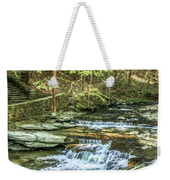 Small Waterfall In Creek And Stone Stairs Weekender Tote Bag