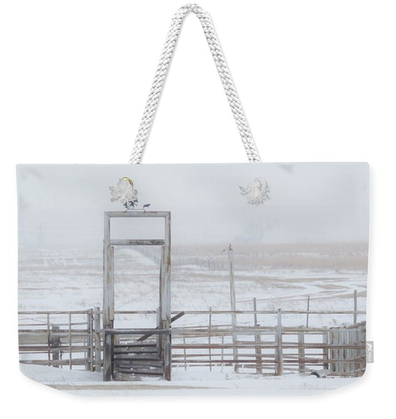 Weekender Tote Bag featuring the photograph Snow And Corral 01 by Rob Graham