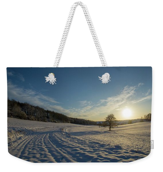 Snow And Sunset Weekender Tote Bag