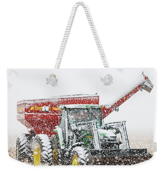 Weekender Tote Bag featuring the photograph Snow And Tractor 02 by Rob Graham