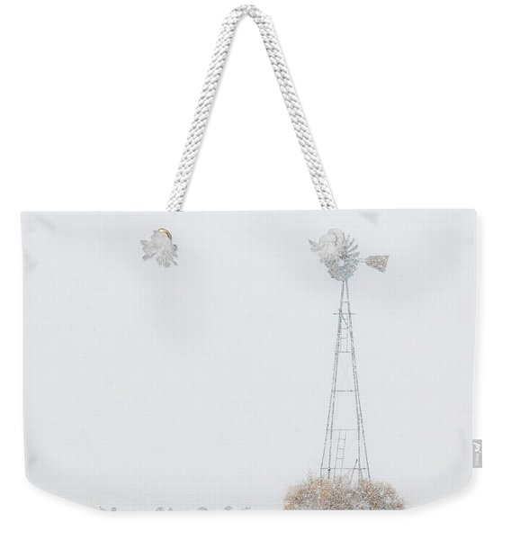 Weekender Tote Bag featuring the photograph Snow And Windmill 02 by Rob Graham