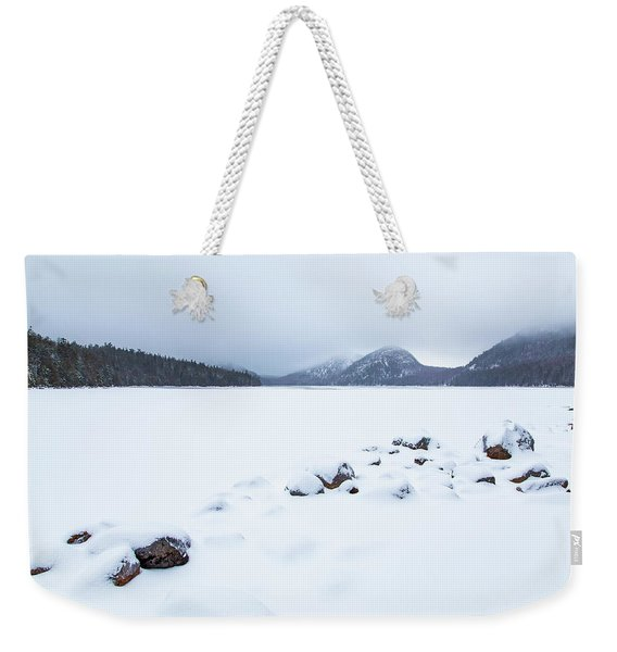 Snow Cover Jordan Pond Weekender Tote Bag