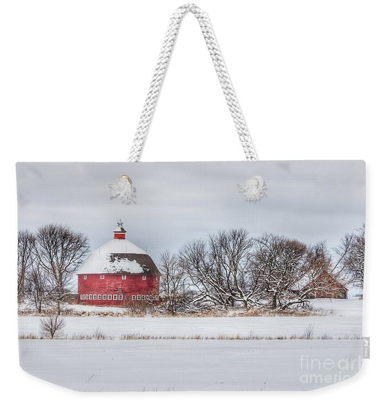 Snow Covered Round Barn Weekender Tote Bag