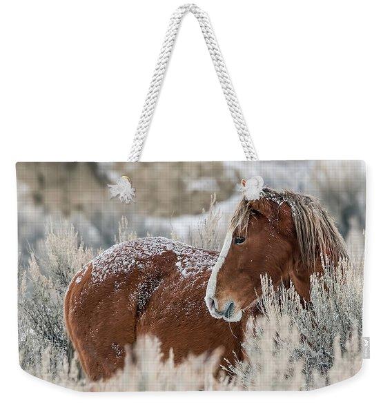 Snow Dusted Mustang Stallion Weekender Tote Bag